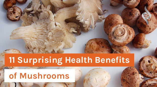 Image of mushrooms with article title 11 Surprising Health Benefits of Mushrooms
