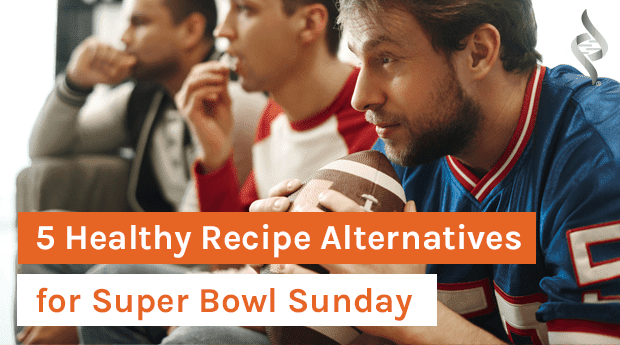 Guys sitting around eating health super bowl recipes!