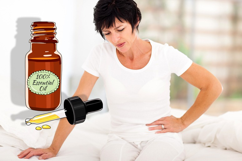 Woman Feeling Pain Looks Towards Essential Oils
