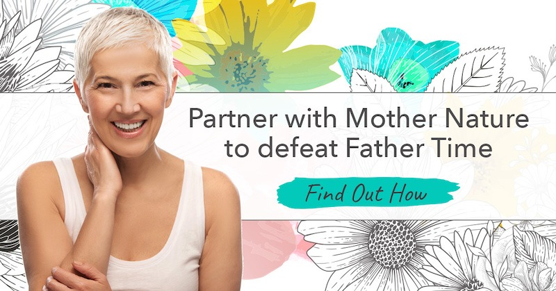 Partner with Mother Nature to defeat Father Time. Banner to Organixx's Anti-Aging Essentials sales page.