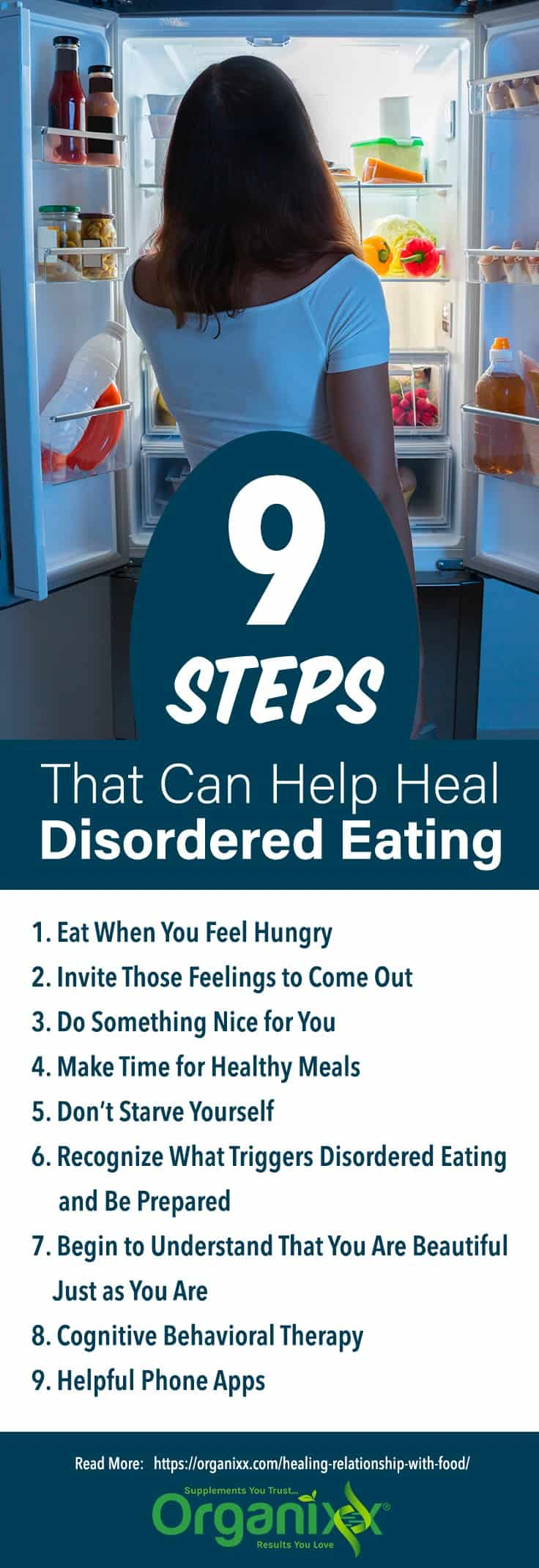 infographic list of tips for healing disordered eating