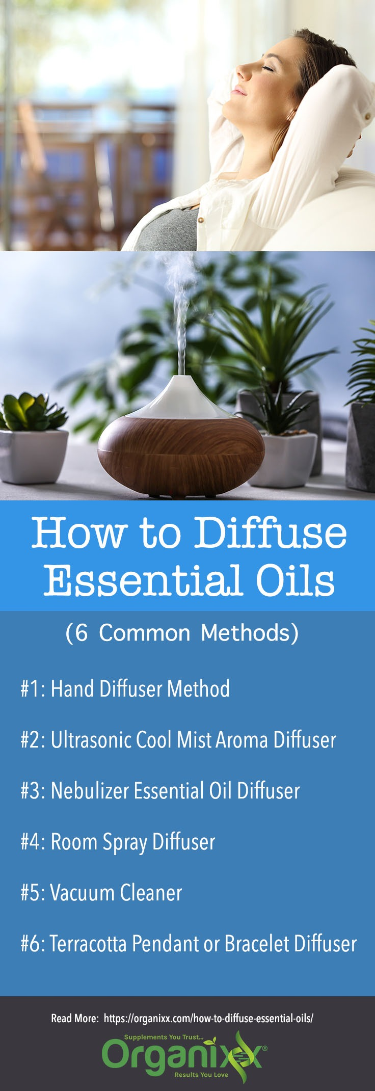 how to diffuse essential oils infographic