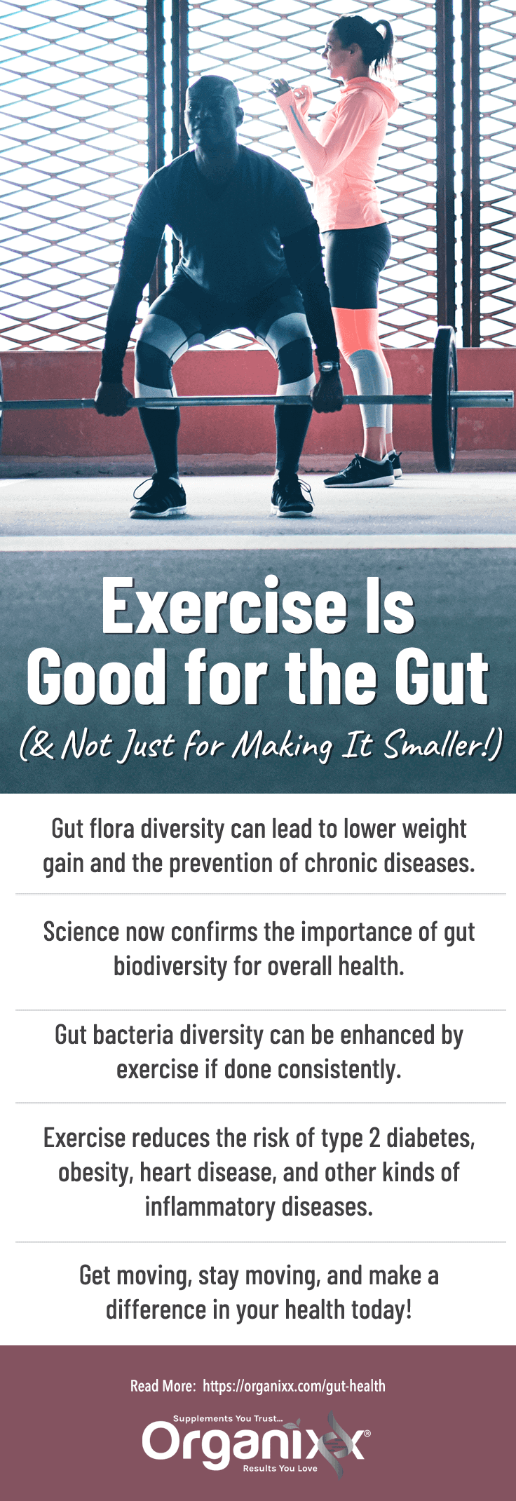 Infographic with list of reasons why exercise is good for gut health