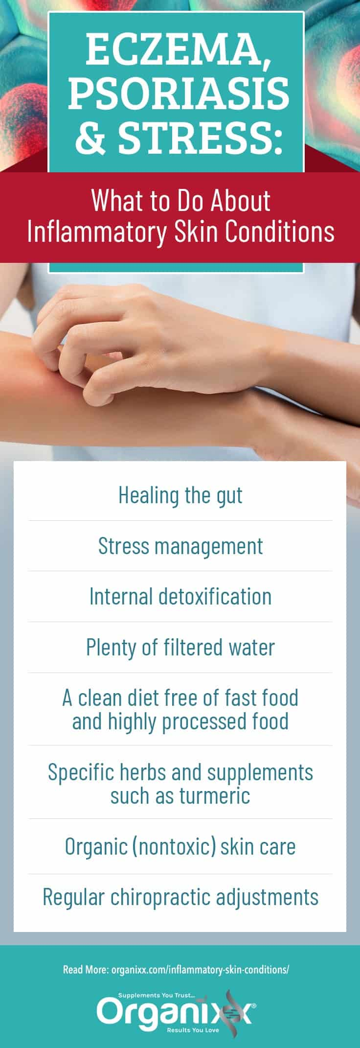 infographic with help tips for managing inflammatory skin conditions