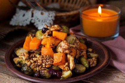 roasted brussels spouts & pumpkin with cranberries and nuts