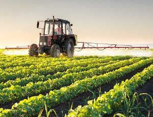 tractor spraying pesticides on soybean crop
